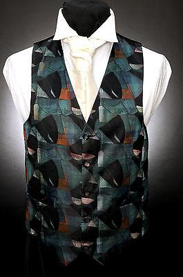 Herrlich W - 527 Abstract Green And Black Mosaic Formal Wedding Waistcoat