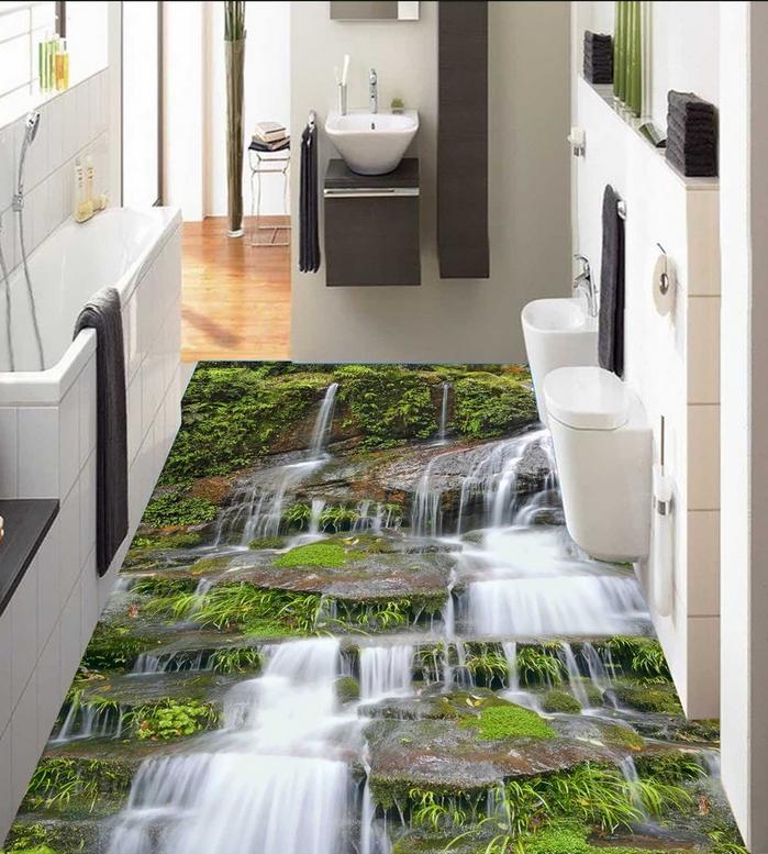 3D Cliffs Waterfall 890  Floor WallPaper Murals Wall Print Decal AJ WALLPAPER US