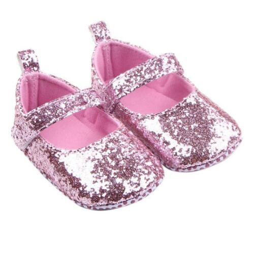 Newborn Infant Cute Baby Girl Princess Dance Glitter Sequin Mary Jane Crib Shoes