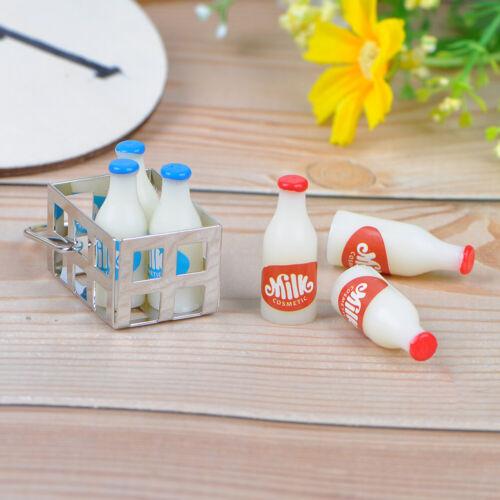 1:12 Dollhouse miniature metal milk basket with 6pcs bottles set for dollsWTUS