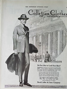 Details about 1920 Vintage Collegian Clothes Mens the Chatham Suit Coat  Fashion Original Ad