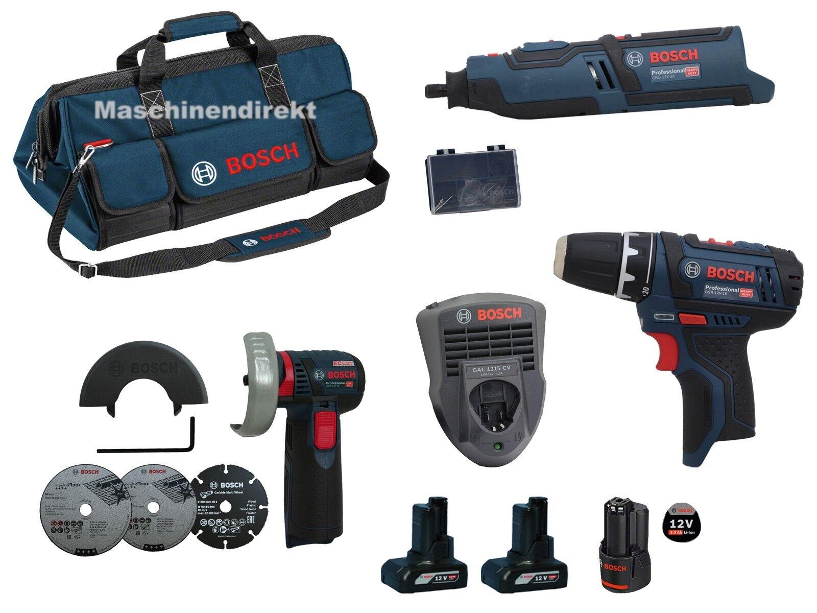 Bosch Akku Rotationswerkzeug GRO12V-35 + Winkelschleifer GWS12V-76 + GSR12V-15