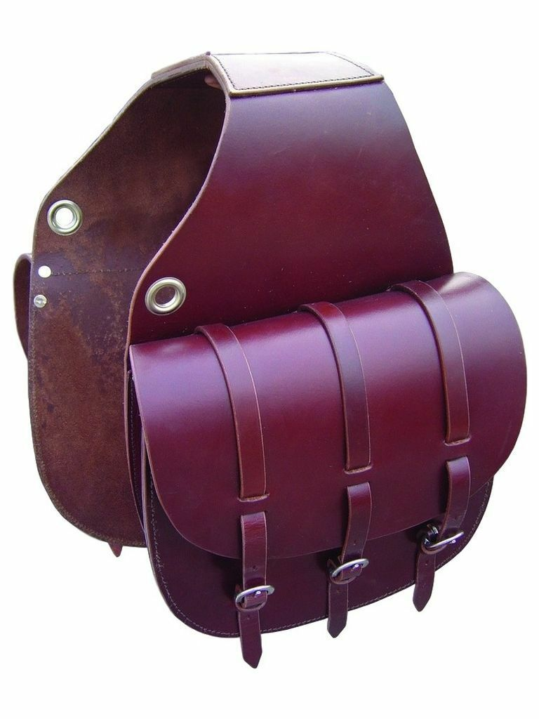 Western Mahagony Leather Saddle Bag with Leather Strings
