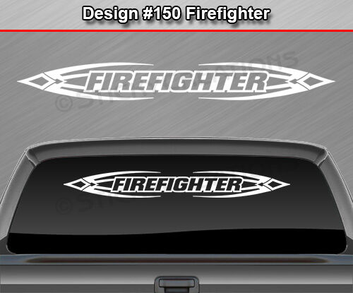 Design #150 FIREFIGHTER Tribal Scallop Windshield Decal Window Sticker Graphic