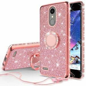 Details about LG Premier Pro LTE Glitter Diamond Cute Phone Case for Girls  Ring Kickstand Pink