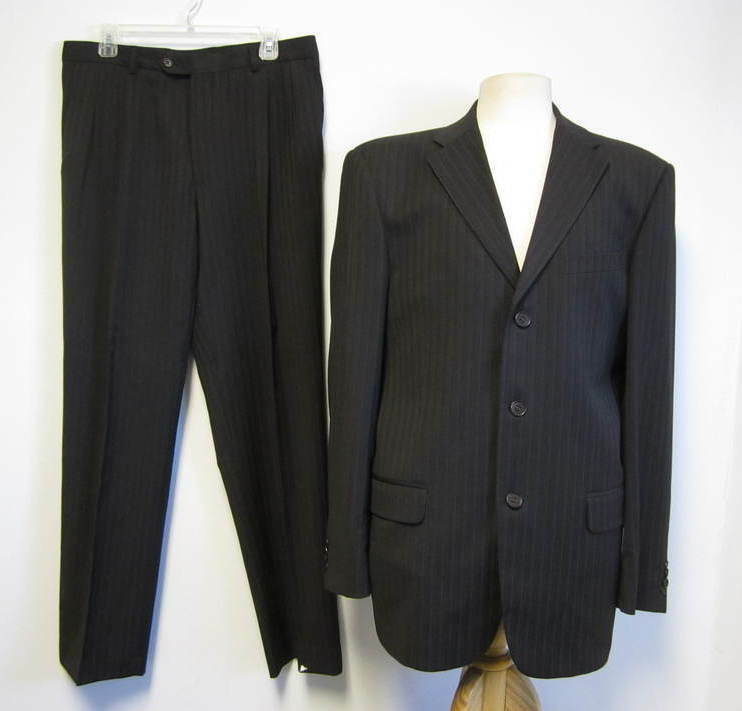 VALENTINO chocolate brown pinstripe men's 3 button pant suit 52 US 42 L SHARP