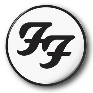 """Foo Fighters Logo - 25mm 1"""" Button Badge - Black & White ...  Foo Fighters Lo..."""