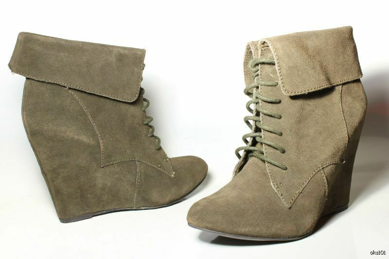 New STEVE MADDEN LUXE 'Dare' ankle olive suede PLATFORM WEDGES ankle 'Dare' Stiefel 8.5 037d3b