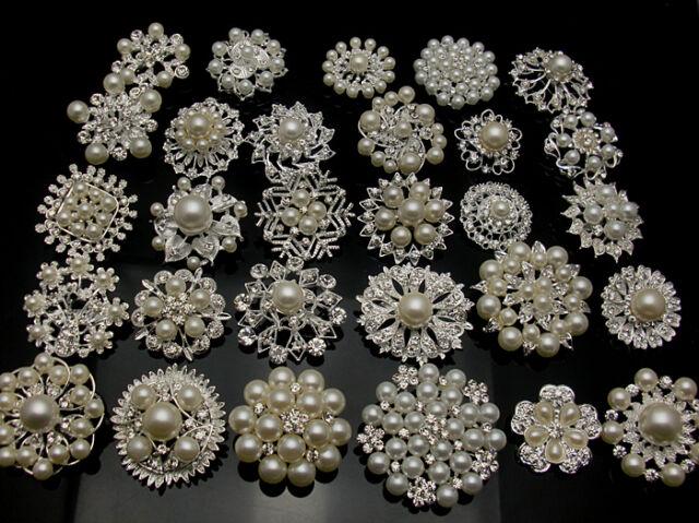 5-100Silver Pearl Crystal Brooch Button DIY Bridal Wedding Bouquet Wholesale Lot