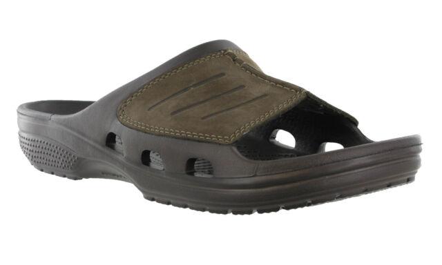 Crocs Yukon Mesa Slide Espresso Walking Comfort Leather Sandals Clogs Mens UK 12