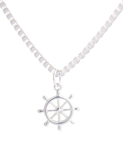 Shiny Silver Metal Steering Wheel Pendant Chain Necklace