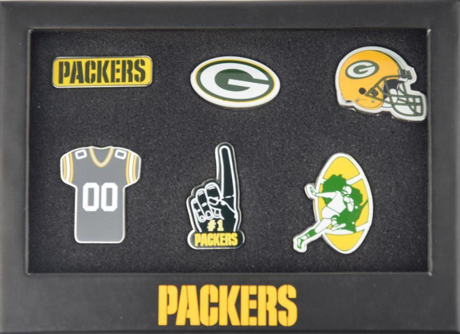 Forever collectibles green bay packers 6 piece pin badge set pin nfl new