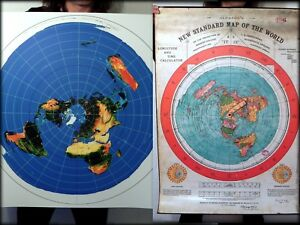 2 Flat Earth Poster Print Deal   Gleason's World Map + Azimuthal