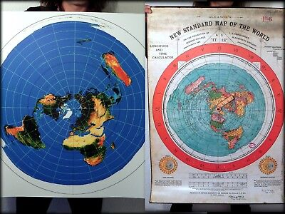 . USGS Radar Map Azimuthal Equidistant Projection FLAT EARTH MAP 40x30 inch