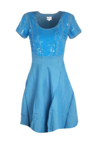 C11 Ex Reiss Blue Dress with Sequin Detail Fit and Flare Size 6-16