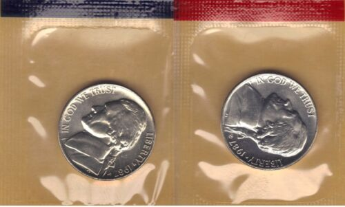 1987-P/&D UNCIRCULATED JEFFERSON NICKELS IN MINT SET CELLO