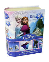 Disney Frozen 8 Different Puzzle Panels In Story Book Shaped Box 96 Pc