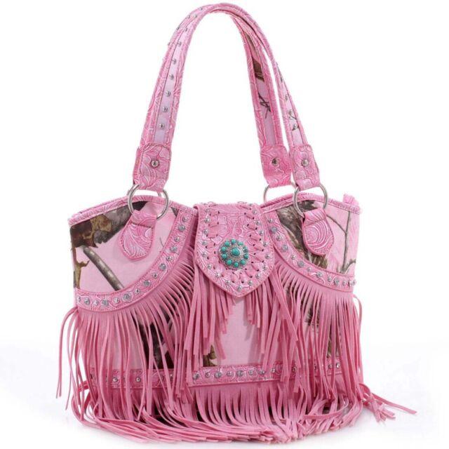 Realtree Fringed Studded Camo Shoulder Bag