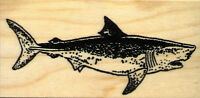Mounted Rubber Stamp Great White Shark Lg Wood Mount 1 3/4 X 3 1/2