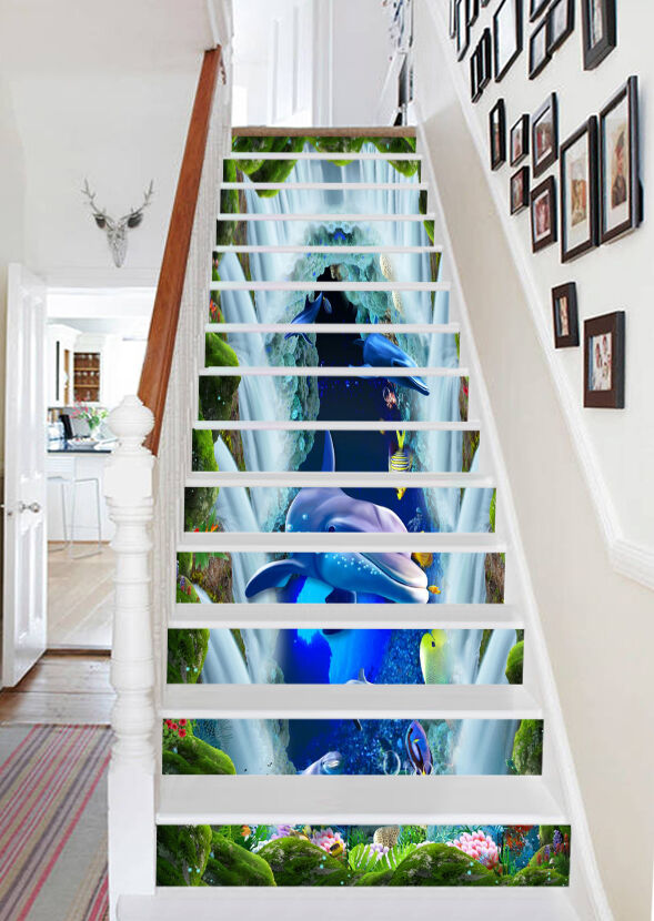 3D bluee sea dolphin 532 Risers Decoration Photo Mural Vinyl Decal Wallpaper US