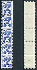2-Fuenferstreifen-Bund-701-A-Ra-postfrisch-Rollenmarken-5-er-Streifen-MNH
