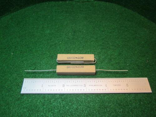 2 Vintage Sand Ceramic 8000 OHM 10/% 10 Watt Wirewound Resistors NOS