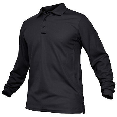TACVASEN Mens Tactical Long Sleeve Polo T-Shirt Military Hiking Work Golf Shirts
