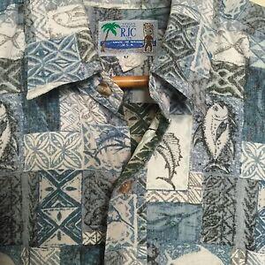 e96205e52 RJC Hawaiian Shirt Mens XL Extra Large Reverse Print Swordfish Blue ...