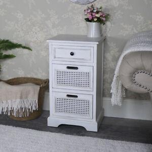 Antique white 3 drawer bedside chest storage unit vintage chic ...