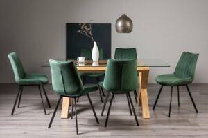 Goya Light Oak Glass 6 Seat Dining Table & 6 Fontana Green Velvet Fabric Chairs