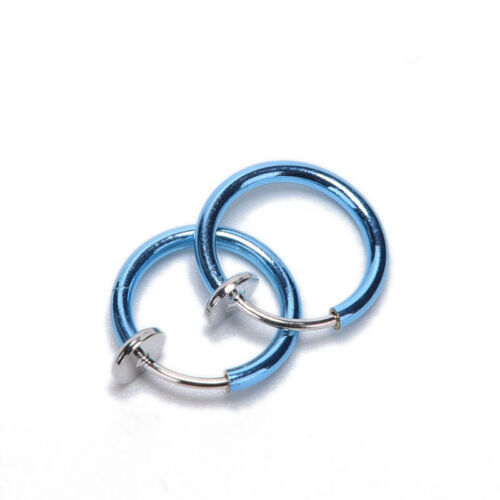 2Pcs Fake Stud Earrings Nose Lip Rings Hoop Ear Punk Clip On Piercing Body