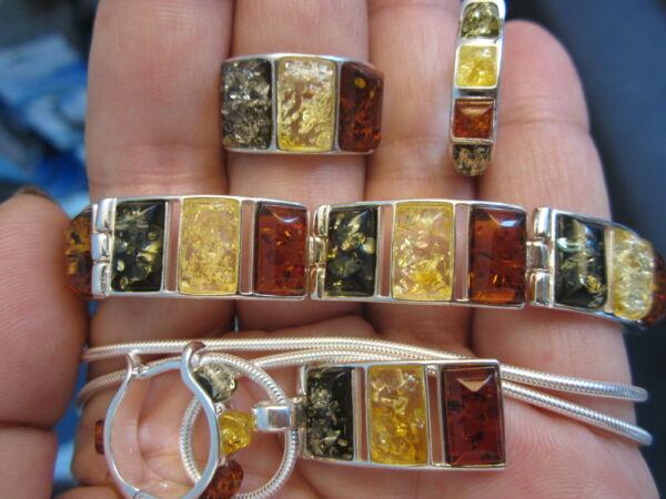 100% QualitäT Set Bernstein 925 Silber: Armband, Ring,creolen, Kette, AnhÄnger Rhodiniert, Neu Hochwertige Materialien