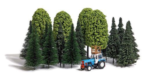 Baumset und Traktor mit Hochstand 13 Tannen BUSCH 9777 H0 Neu 4 Laubbäume
