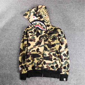 a762afe8d675 Hot Men s Shark Head Full Zip Coat Camo Jacket BAPE A Bathing Ape ...