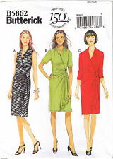 Easy Womens Mock Wrap Stretch Knit Dress Butterick Sewing Pattern 18 20 22 24