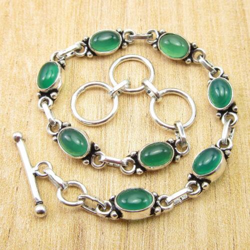 """Green Onyx sentimental cadeaux Bracelet 8/"""" Argent Plaqué Bijoux NEUF"""