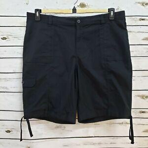 St-Johns-Bay-Womens-Bermuda-Shorts-Black-Mid-Rise-Pockets-Stretch-22W-New