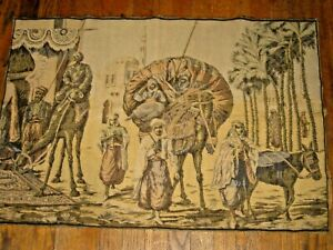 Antique-French-Tapestry-24-034-by-36-034-Scene-Coming-to-Market-Camel-Palms-Donkey