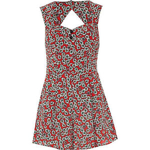 River-Island-Daisy-Floral-Print-Waisted-Evening-Occasion-Summer-Playsuit-Size-10