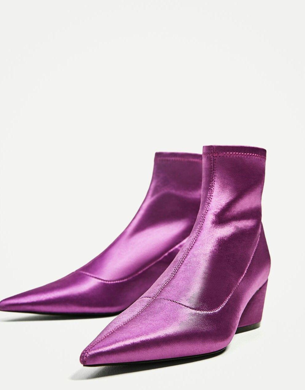 Zara púrpura Calcetín Estilo Stretch Elastic señaló Tobillo botas REF 5100 201