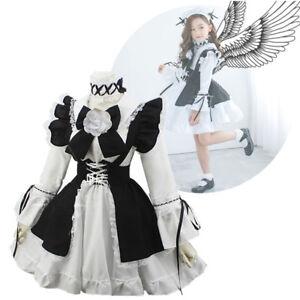 2903bafc5 Family Women Girl Kids Lolita Maid Dress Uniform Cosplay Costume ...
