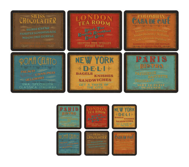 Pimpernel Lunchtime Placemats & Coasters Set of 6 Retro Design Table ...