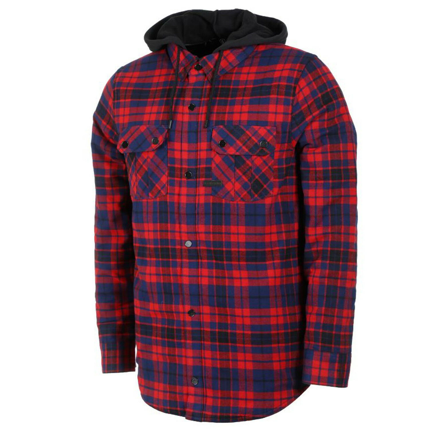 VOLCOM Mens 2019 Snowboard Snow FIELD INSULATED FLANNEL Hooded Shirt RED