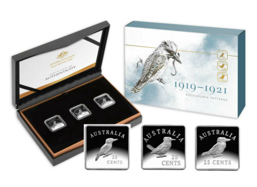 2019 Centenary of the Kookaburra Pattern Pieces 25c 1//4oz Silver Proof 3 Square