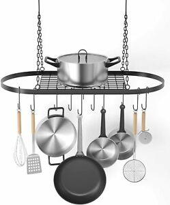 Pot and Pan Rack for Ceiling with Hooks Decorative Oval Mounted Mounted Storage