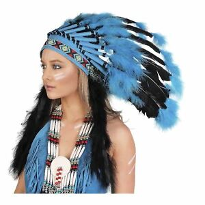 97c58626e1b Details about Native American Indian Feather Headdress Turquoise Festival  Costume Accessory