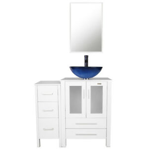 36 White Bathroom Vanity Small Cabinet Mirror Table Vessel Sink