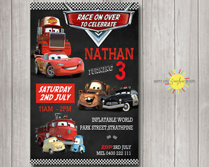Printable Boy Birthday Chalkboard Invitation Disney Cars Lightning