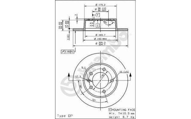 BREMBO Juego de 2 discos freno 305mm RENAULT MASTER OPEL MOVANO 08.9371.10
