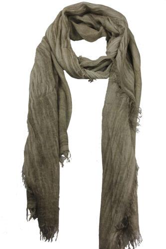 100/%Modal Italy Schal Damen Langschal Halstuch Uni taupe Zupffransen Schal